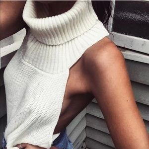 Tops - White Open Back Sweater